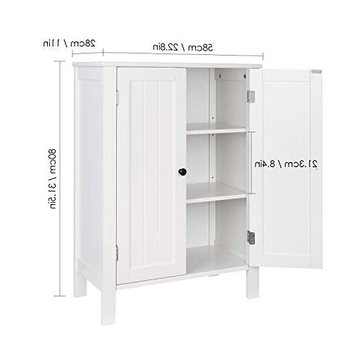 Homfa Free Standing Storage Organizer with Doors and for Home Office, White