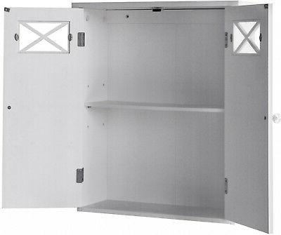 bathroom wall cabinet adjustable shelf w doors