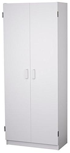 Flynn White Finish Storage Cabinet 2 Adjustable Shelves and