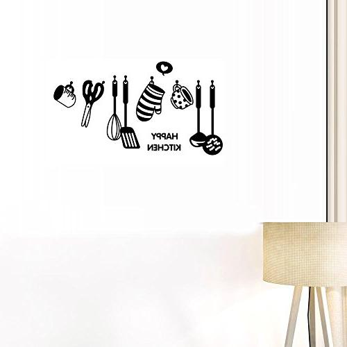 BIBITIME HAPPY Sayings of cooking Cups Scissors Turner Silhouette Sticker Kitchen Cabinet Shelf