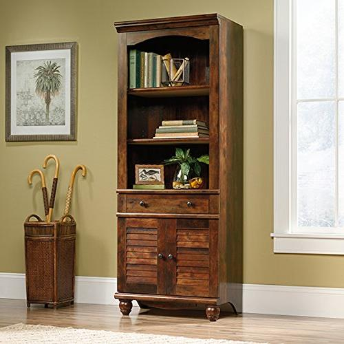 Sauder Harbor View Library With Doors 420476 Curado Cherry