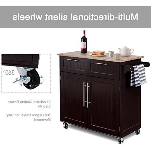 Giantex Kitchen Rolling Storage Trolley Utility with Towel Rack Top