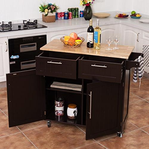 Giantex Kitchen Rolling Storage Trolley Home and Utility Cart with Towel Top