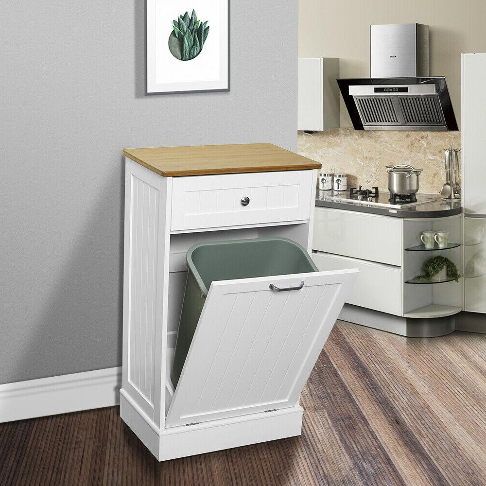Kitchen Trash Cabinets Free Standing W/Removable Cutting Board