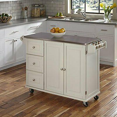 Liberty Off-White Kitchen Cart with Stainless Steel Top by H