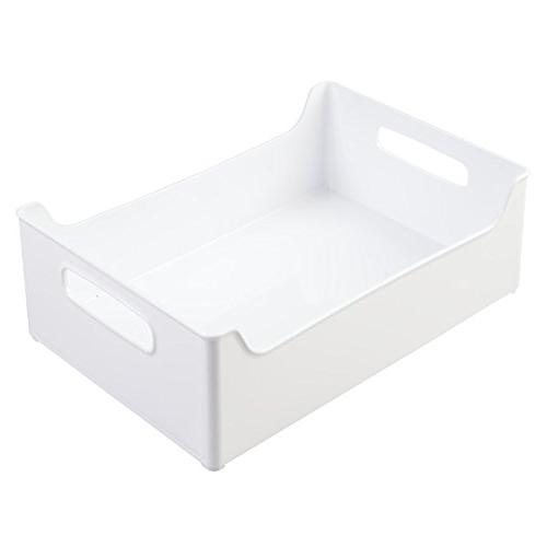 mDesign Plastic Organizer with for Countertop, Pantry, Free - for Snacks/Food - White