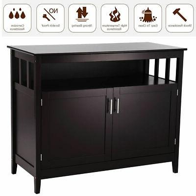 Modern Buffet Server Table Dining Wood Brown