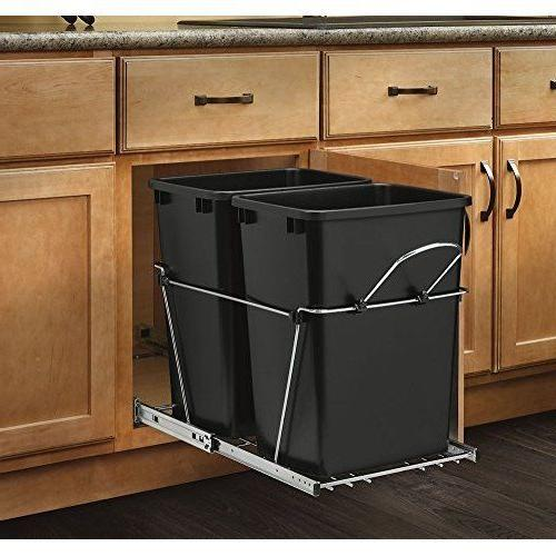 pull out waste container black and chrome
