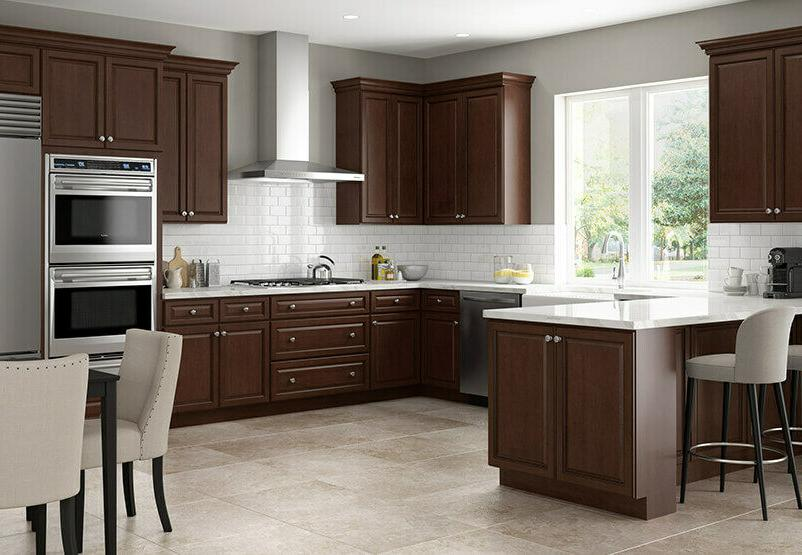 Lily 10 Foot Run Wood Kitchen Cabinets Chocolate