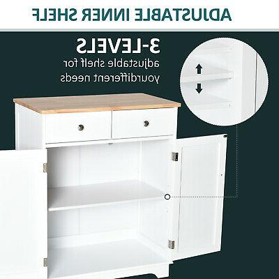 HOMCOM Wooden Cabinet, Island Adjustable