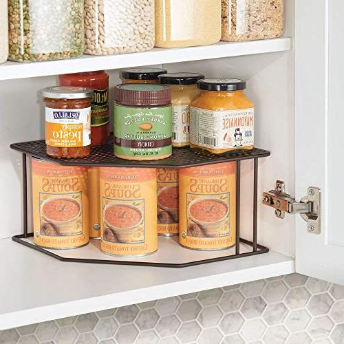 mDesign Rustic Decorative Corner - Tier Raised Storage Organizer for Cabinet, Shelf, Countertop - Dishes, Goods, Spices