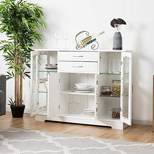 Giantex Sideboard Buffet Server Storage Cabinet Console Table Home Kitchen Dining Room Furniture Entryway Cupboard with 2 Cabinets and 3 Drawers Adjustable Shelves Brown White