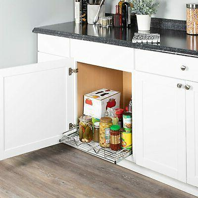 Slide Pull-Out Kitchen Cabinet Storage Shelves and Organizer