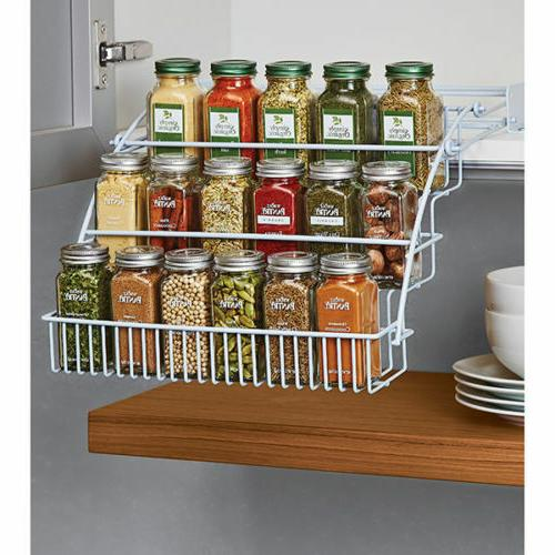 Spice Racks For Kitchen Cabinets Cupboard Tiered Shelf Jars