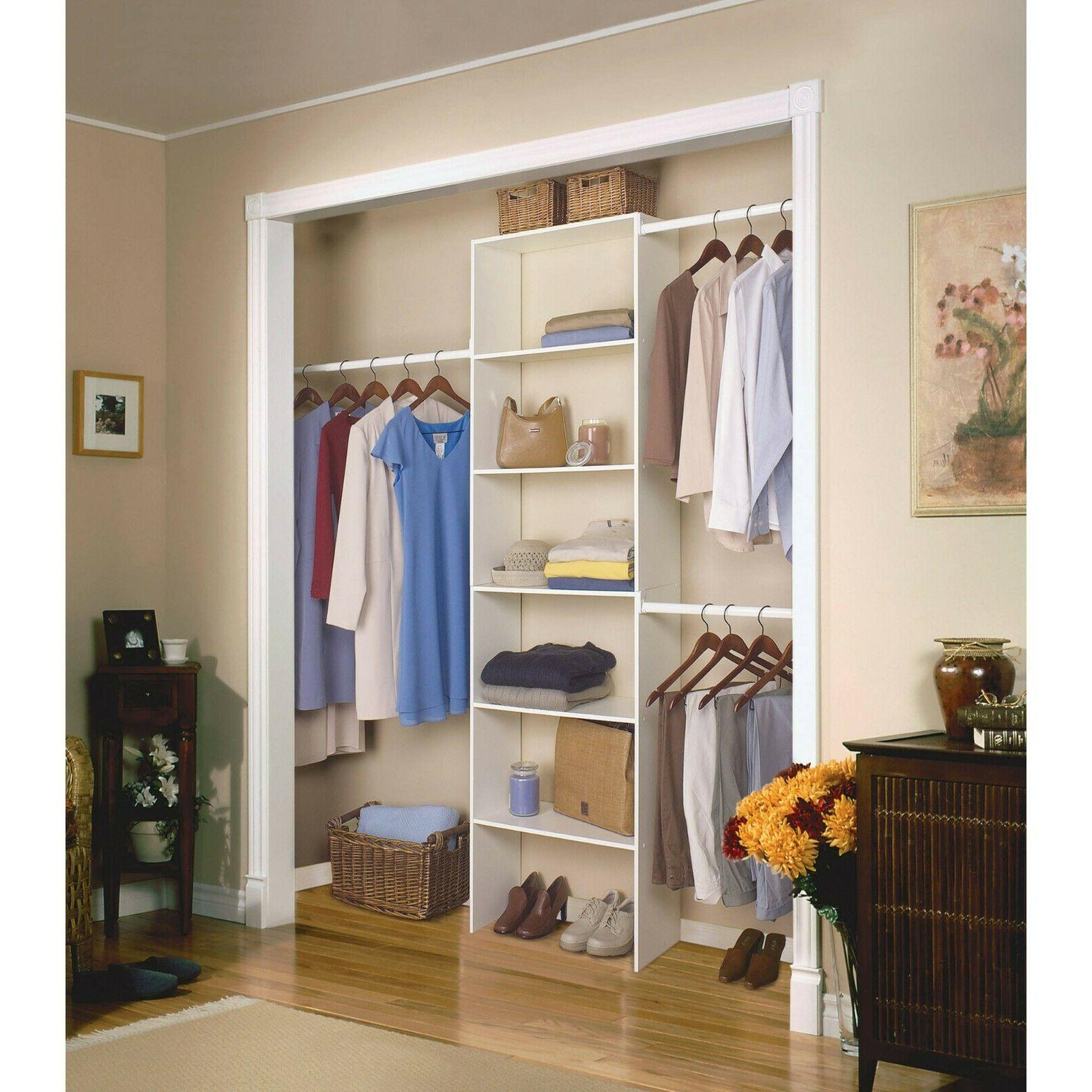 "Vertical Closet Organizer 24"" Storage Shelf System Clothes S"