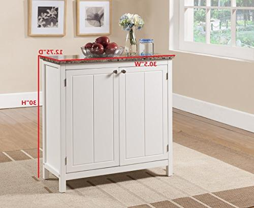 Kings Marble Finish Kitchen Island Storage Cabinet