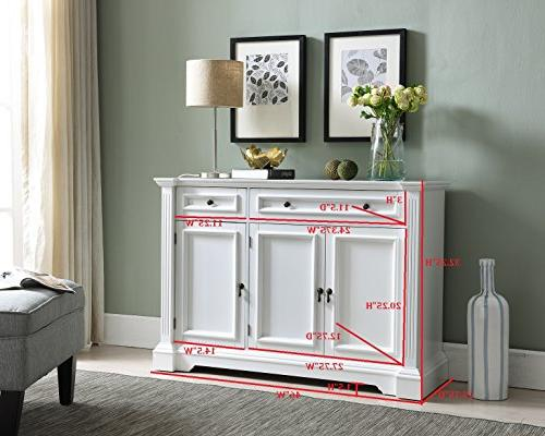 Kings Brand Furniture White Finish Cabinet Table with Storage, Drawers,