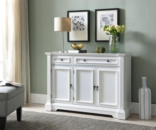 white finish wood buffet breakfront