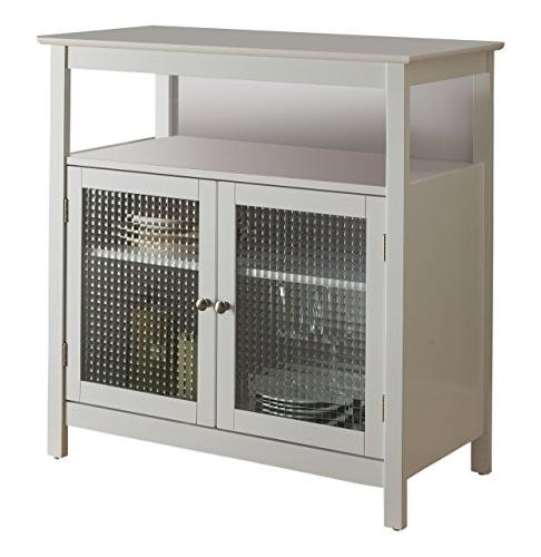 Kings White Finish Wood Kitchen Buffet with Doors