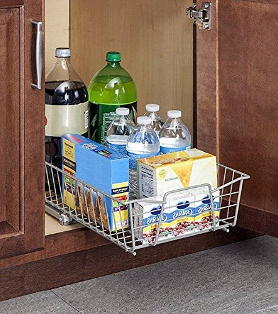Wide Cabinet Organizer Nickel for kitchen