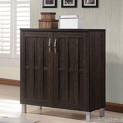 Wood Cabinet Storage Rack Shoe Organizer Entryway Sideboard