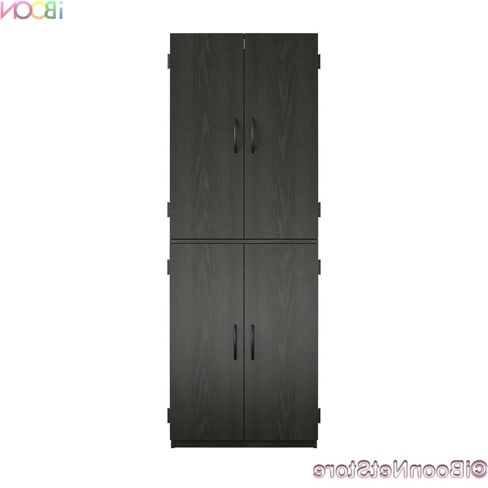 Wood Storage Cabinets 4 Doors Tall Pantry vertical Organizer
