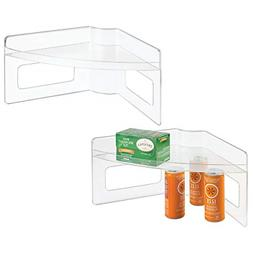 mDesign Lazy Susan Storage Shelf with Handles for Kitchen Ca