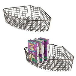 mDesign Lazy Susan Wire Storage Basket with Handle for Kitch