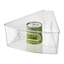 mDesign Lazy Susan Storage Bin with Handle for Kitchen Cabin