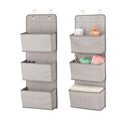 mDesign Over the Door Fabric Baby Nursery Closet Organizer f