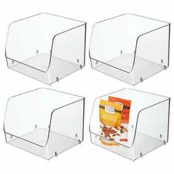 mDesign Large Household Stackable Plastic Food Storage Organ