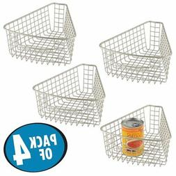 mDesign Pack of4,1/8 Wedge Lazy Susan Wire Storage Basket Ha