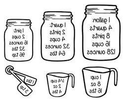 Measuring Cups Conversion Baking Vinyl Wall Art Decal Sticke