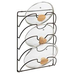 mDesign Metal Wire Pot and Pan Lid Rack Organizer for Kitche