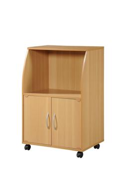 Hodedah Mini Microwave Cart with Two Doors and Shelf for Sto
