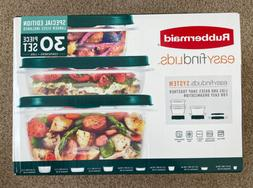 NEW RUBBERMAID 30pc Food Storage Container Set with Easy Fin