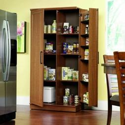 Oak Finish Pantry Storage Cabinet Wooden Laundry Home Office