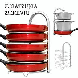 WiseLife Pan Pot Organizer Rack for 8 9 10 11 12 inch Cookwa
