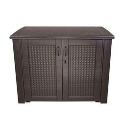Rubbermaid 123 Gal. Patio Chic Basket Weave Cabinet, Brown,