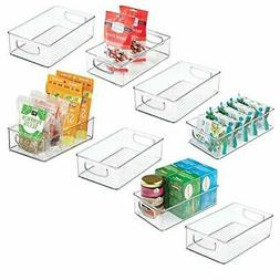 mDesign Stackable Plastic Kitchen Pantry Cabinet, Refrigerat