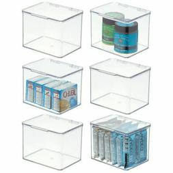 mDesign Plastic Stackable Kitchen Pantry Cabinet or Refriger