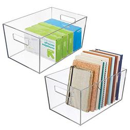 mDesign Plastic Storage Bin with Handles for Office, Desk, B