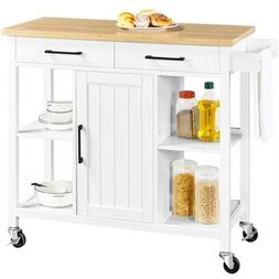 Portable Kitchen Island Cart with Bamboo Top & Storage Cabin