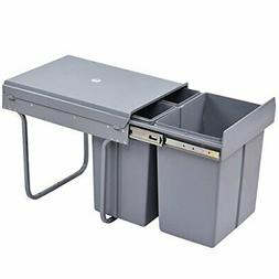 Costzon Pull Out Waste Bin 3 Component Trash Container with