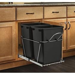 Pull-Out Waste Container Black and Chrome  Double 35 Qt. Kit