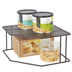 mDesign Rustic Decorative Metal Corner Shelf - 2 Tier Raised