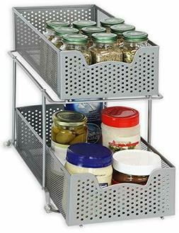 Simple Houseware 2 Tier Sliding Cabinet Basket Organizer Dra