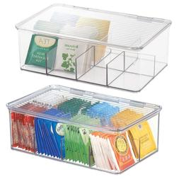 mDesign Stackable Plastic Tea Bag Holder Storage Bin Box for