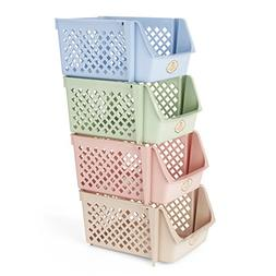 Titan Mall Stackable Storage Bins for Food, Snacks, Bottles,
