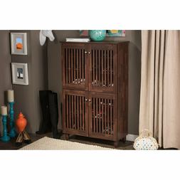 Tall Shoe Storage Cabinet With Doors Entryway Foyer 5 Shelf